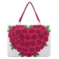 Floral Heart Medium Zipper Tote Bag