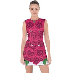 Floral Heart Lace Up Front Bodycon Dress