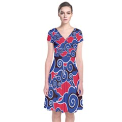 Batik Background Vector Short Sleeve Front Wrap Dress