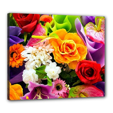 Colorful Flowers Canvas 24  X 20