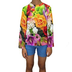 Colorful Flowers Kids  Long Sleeve Swimwear