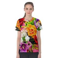 Colorful Flowers Women s Cotton Tee