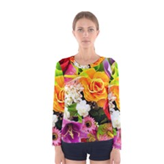 Colorful Flowers Women s Long Sleeve Tee
