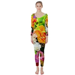 Colorful Flowers Long Sleeve Catsuit