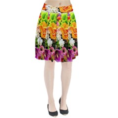 Colorful Flowers Pleated Skirt