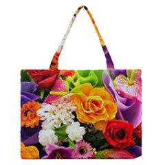 Colorful Flowers Medium Zipper Tote Bag
