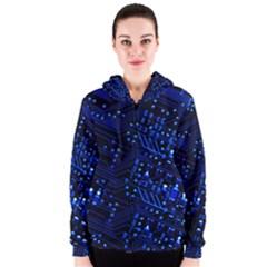 Blue Circuit Technology Image Women s Zipper Hoodie