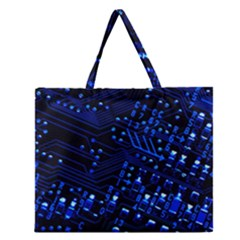 Blue Circuit Technology Image Zipper Large Tote Bag