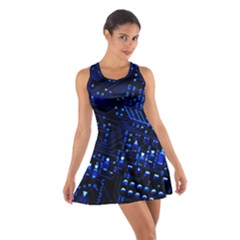 Blue Circuit Technology Image Cotton Racerback Dress