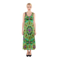 Golden Star Mandala In Fantasy Cartoon Style Sleeveless Maxi Dress