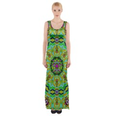 Golden Star Mandala In Fantasy Cartoon Style Maxi Thigh Split Dress