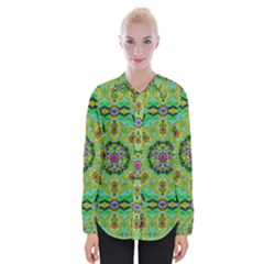 Golden Star Mandala In Fantasy Cartoon Style Womens Long Sleeve Shirt