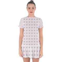 Pink Cute Cat Pattern Drop Hem Mini Chiffon Dress