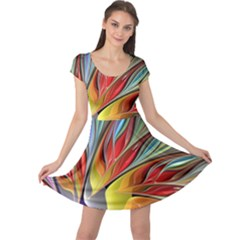Fractal Bird Of Paradise Cap Sleeve Dresses