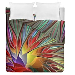 Fractal Bird Of Paradise Duvet Cover Double Side (queen Size)