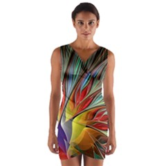 Fractal Bird Of Paradise Wrap Front Bodycon Dress