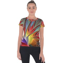 Fractal Bird Of Paradise Short Sleeve Sports Top