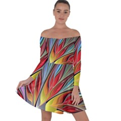 Fractal Bird Of Paradise Off Shoulder Skater Dress