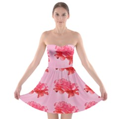 Pink Floral Pattern Strapless Bra Top Dress