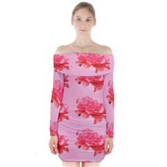 Pink Floral Pattern Long Sleeve Off Shoulder Dress