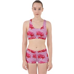 Pink Floral Pattern Work It Out Sports Bra Set