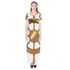 Boat Wheel Transparent Clip Art Short Sleeve Maxi Dress