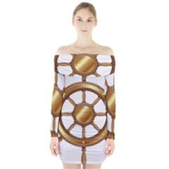 Boat Wheel Transparent Clip Art Long Sleeve Off Shoulder Dress