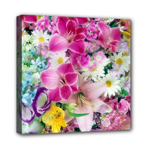 Colorful Flowers Patterns Mini Canvas 8  X 8