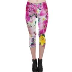 Colorful Flowers Patterns Capri Leggings
