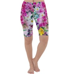 Colorful Flowers Patterns Cropped Leggings