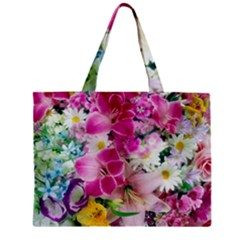 Colorful Flowers Patterns Zipper Mini Tote Bag