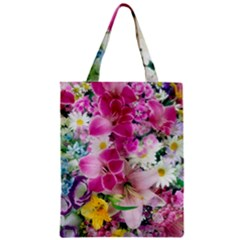 Colorful Flowers Patterns Zipper Classic Tote Bag