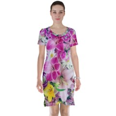 Colorful Flowers Patterns Short Sleeve Nightdress