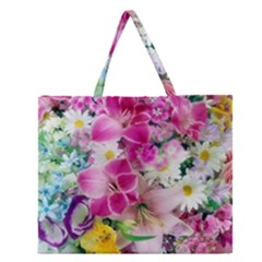 Colorful Flowers Patterns Zipper Large Tote Bag