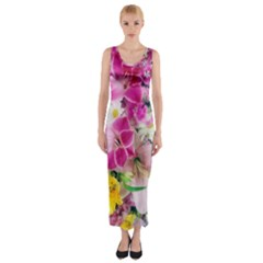 Colorful Flowers Patterns Fitted Maxi Dress