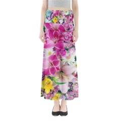 Colorful Flowers Patterns Full Length Maxi Skirt