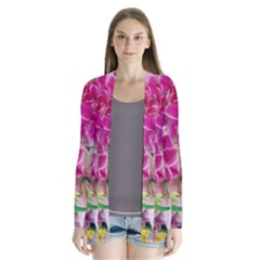 Colorful Flowers Patterns Drape Collar Cardigan