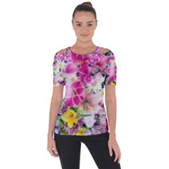 Colorful Flowers Patterns Short Sleeve Top
