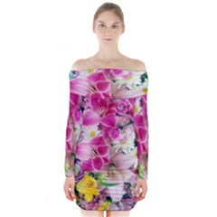 Colorful Flowers Patterns Long Sleeve Off Shoulder Dress