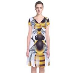 Bee Short Sleeve Front Wrap Dress