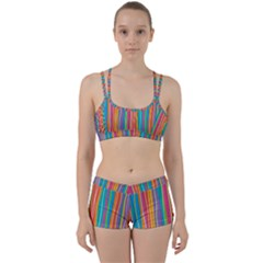 Colorful Striped Background Women s Sports Set