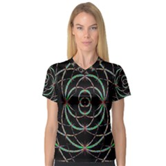 Abstract Spider Web V Neck Sport Mesh Tee