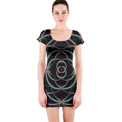 Abstract Spider Web Short Sleeve Bodycon Dress