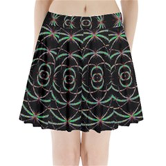 Abstract Spider Web Pleated Mini Skirt