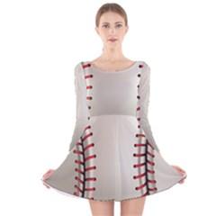 Baseball Long Sleeve Velvet Skater Dress