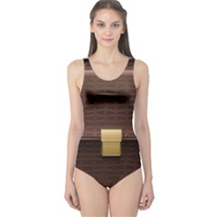 Brown Bag One Piece Swimsuit