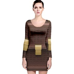 Brown Bag Long Sleeve Velvet Bodycon Dress