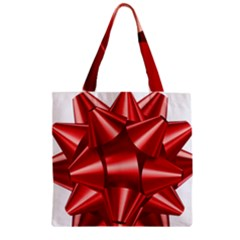 Red Bow Zipper Grocery Tote Bag