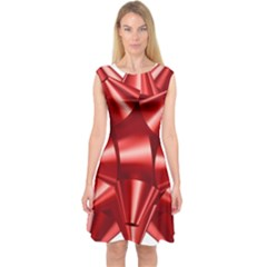 Red Bow Capsleeve Midi Dress