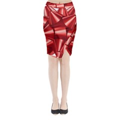 Red Bow Midi Wrap Pencil Skirt